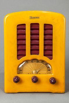 "1938 Art Deco Emerson BT-245 Catalin ""Tombstone"" Radio in Yellow + Plum (RA276)"
