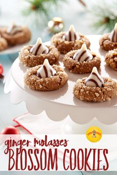 Soft, chewy and a tad spicy — everything you love about a ginger cookie — topped with a white chocolate striped candy kiss. This recipe is a modern take on a retro favorite.