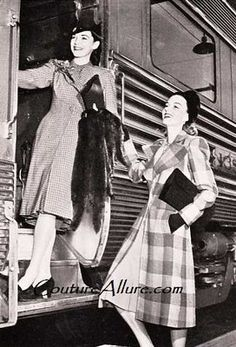 Cross-country train travel - it brings romantic images of club cars, sleeping berths, and travel at a less frantic pace. Of course, in By Train, Train Tracks, 1940s Fashion, Vintage Fashion, Vintage Couture, Thelma Louise, Romantic Images, Old Trains, How To Pose