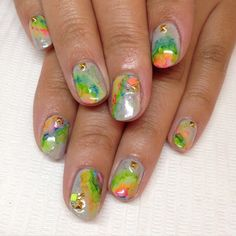 Rainbow watercolor abalone for Jasmine #nails #nailart #gelnails #watercolor #sparklesf