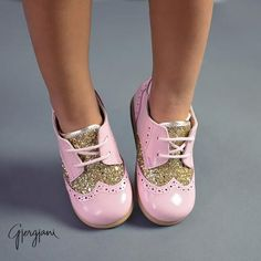 Pink Leather and glitter oxfords for girls Gjergjani G13 Pink by Gjergjani Kids Shoe Collection