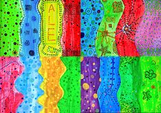 We created these mixed media paintings with 6th grade students. We experienced that you can create very expressive images just using dots. The dot is the smallest element of the visual language, bu…