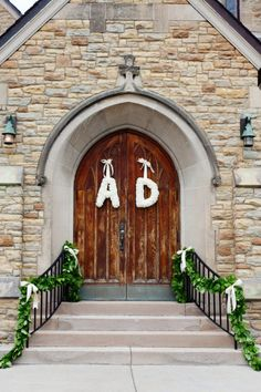 Initials on the church doors More