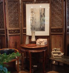 Lotus Gallery Interior, Summer 2013: Chinese door panels; Bactrian ritual objects; Han Dynasty architectural models; Chinese round table; Josef Hoffmann chair; Philip and Kelvin Laverne coffee table