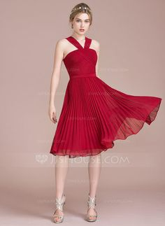 [US$ 96.69] A-Line/Princess V-neck Knee-Length Chiffon Bridesmaid Dress With Pleated (007104716)