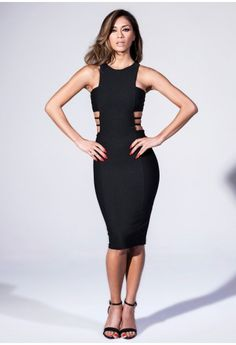 Imogen contrast mesh panel maxi dress black