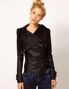 River Island Leather Look Drape Jacket $103.48 (For those of us wishing for a Rick Owens jacket.)
