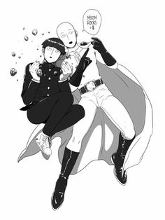 Mob, Saitama, Mob Psycho 100, One Punch Man, crossover, cool, moon rocks, funny, text; Anime