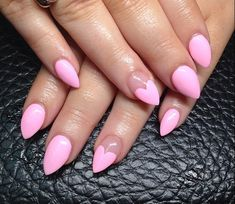 Simple barbie pastel pink with heart shape design nail. Stiletto nails