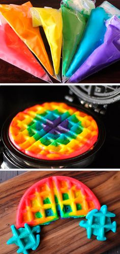 Rainbow waffles,, love this idea!! might have to do this soon and surprise the kiddos:)