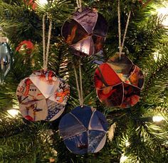 Make ornaments out of old Christmas cards or even heavy Christmas scrapbooking paper!