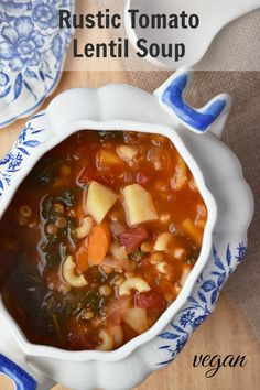 Rustic Tomato Lentil Soup Recipe - from vegan classic cookbook How It All Vegan - vegan & gluten-free - load up on veggies for a #healthy start to the new year! #soup #recipe