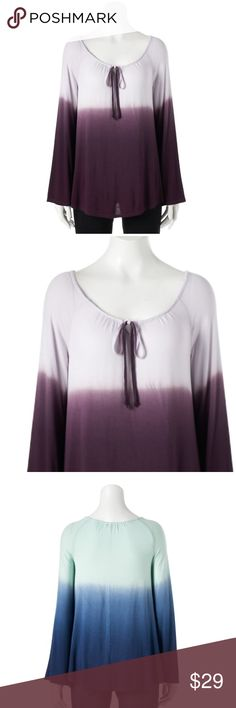 Dip dyed tunic Purple NWT! Soft orchid/purple color. Bell sleeves.  PRODUCT FEATURES Dip-dyed design Splitneck with tie detail Long sleeves Soft jersey construction FABRIC & CARE Rayon, spandex Machine wash Imported Sonoma Tops Tunics