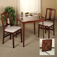 Wood Folding Card Table And Chairs Set