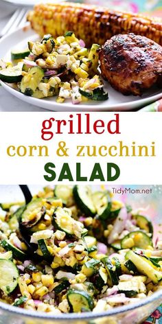 Grilled Corn and Zucchini Salad is a fresh summer side that goes well with anything off the grill Full of flavor and lots of crunch make this summer salad a nice change f. Summer Grilling Recipes, Summer Recipes, Barbecue Recipes, Barbecue Sauce, Vegan Kitchen, Kitchen Recipes, Clean Eating Snacks, Healthy Eating, Zucchini Salad