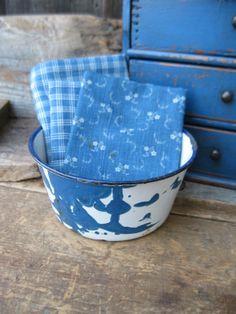 Small Antique Blue Marble Graniteware Bowl | eBay