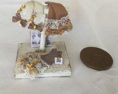Handmade DollHouse 1:12 scale Miniature Ladies Shop biege leather glove display stand