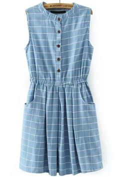 Light Blue Sleeveless Plaid Buttons Denim Dress - abaday.com