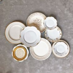 mix and match our vintage plate collection for your event. Our white and gold collection is classic while eclectic. Vintage Plates, Vintage China, Emerson Park, Eclectic Wedding, Wedding Rentals, Mix N Match, Vintage Furniture, Decorative Plates, Wedding Decorations