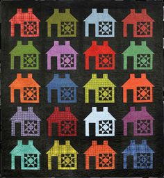 House of Many Colors - Quilt PATTERN - designed by Bonnie Sullivan for Maywood - Uses Woolies Flannel! House Quilts, Barn Quilts, Quilt Kits, Quilt Blocks, Pattern Blocks, Quilt Patterns, Spool Quilt, Jelly Roll Patterns, Quilt Storage