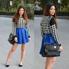 Oasap Houndstooth Sweater, Boohoo Skater Skirt, Marc B. Bag