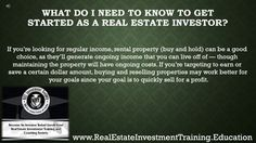 Real Estate Investors Common Questions 1- 3