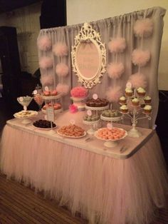 Pretty in Pink Birthday Setup Dessert Table... Decor and skirting done by Isabellasdesigns.com