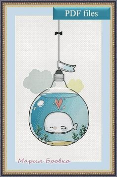 Maria Brovko - Whale in a Light Bulb-Cross stitch Communication / Download-Cross stitch Patterns Scanned-PinDIY -