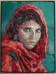 The Afghan Girl, photo by Steve McCurry, mosaic by Anouk Rosenhart www.rosenhartmosaics.com