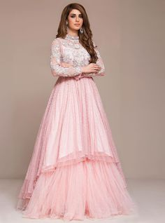 Buy latest indo western gowns and dresses online only on Panache Haute Couture. Find a large variety of party wear and bridal gowns at discounted rates. Indian Wedding Gowns, Pink Wedding Gowns, Indian Gowns Dresses, Indian Bridal Lehenga, Pink Gowns, Bridal Gowns, Wedding Frocks, Indian Designer Outfits, Designer Gowns