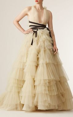 V Neck Tiered Skirt Ball Gown  by CAROLINA HERRERA for Preorder on Moda Operandi