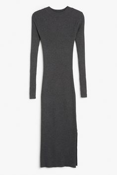 Monki Image 1 of Long sleeve dress in Grey