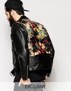 Image 1 ofReclaimed Vintage Leather Biker Jacket With Back Print