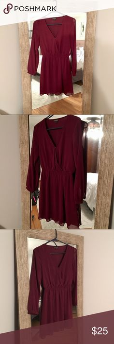 NWOT Express Sheer Long Sleeve Dress Maroon/dark red colored long sleeve sheer dress from Express. Never worn. Bought it to wear to work but just ended up never wearing it. Super cute casual dress that you could easily dress up for a night out! Work dress, party dress, casual dress, girls night out dress, this is an everything dress! Express Dresses Long Sleeve