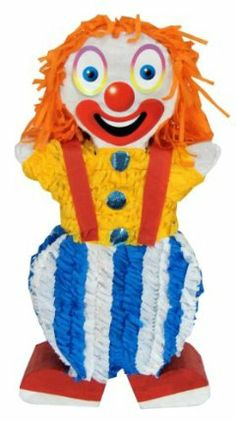 "Aztec Imports Clown Pinata by Aztec Imports Inc.. $12.99. Made of cardboard and tissue paper. Includes strong cable tie at the top for hanging pinata. Pinata can be filled with up to 2lbs of toys and candy. Makes great decoration and fun party game at theme birthday parties. Includes opening for filling pinata. From the Manufacturer 20"" tall clown pinata features shirt with buttons and striped pants with suspenders. Match your Circus Party Theme or a..."