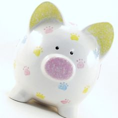 Paw Prints Piggy Bank Personalized Piggy Bank Puppy by ThePigPen