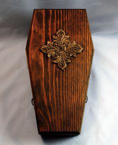 Handmade Wooden Coffin Box Brass Hinges Decorative by AeryckdeSade, $75.00