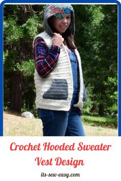 It's not going to be a surprise if this irresistible sweater becomes your favorite once it's done. It's a great design to pick because it presents a different side of crocheting that you didn't think of and it's always fun to pick out a new out-of-the-box design. The hooded sweater vest is great for layering and the bulky yarn used to make it adds some much-needed warmth when you're out and about. #hoodedvestpatterns#crochethoodedsweater#sweaterpatterns#crochethoodedvest Jumper Patterns, Knitting Patterns Free, Sewing Patterns, Crochet Patterns, Hooded Vest, Hooded Sweater, Crochet Turtle, Baby Sewing, Crochet Designs