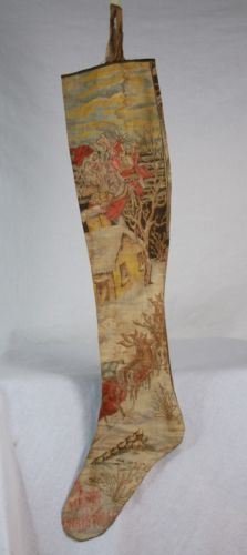 Antique Victorian Printed Christmas Stocking c1900