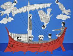 Yiannis Gaitis, Greek artist ( 1923 - Sirens- Odysseus- National gallery Museum of Athens Modern Art, Contemporary Art, Greece Painting, Street Art, Christmas Ships, National Gallery, Great Works Of Art, Sirens, Urban Art