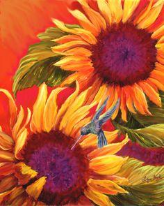 #Sunflowers  #sunflower art  #sunflower prints  #hummingbird  See all of my Paintings & Prints at:  https://www.etsy.com/shop/LynnFogel?ref=hdr_shop_menu