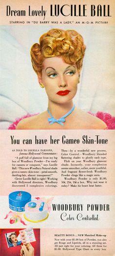Lucille Ball. Woodbury Powder 1943 advertisement