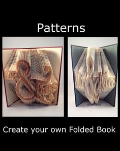 9 Mr & Mrs Wedding  Book folding PATTERNS to Create your own folded book art