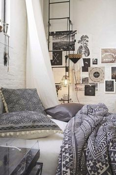 bedroom, bohemian, boho, cosy, grey, home, house, interior design, minimalist, modern, pale, white