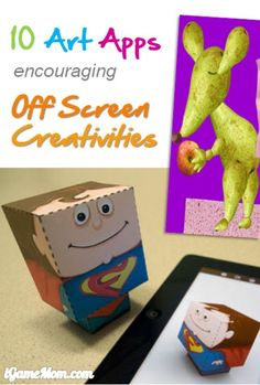 10 Art Apps for Kid encouraging off screen creativity - great kids activity ideas for screen free week.