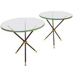 Pair of Italian  Fontana Arte  Style Side Tables