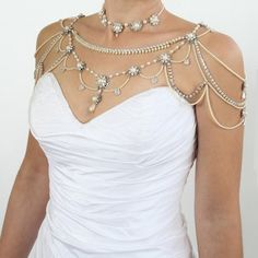 Bridal Necklace For The SHOULDERS,Victorian Style,Beaded Pearls And Rhinestone,OOAK Bridal Jewelry,Wedding Jewelry,Vintage,1920's Style