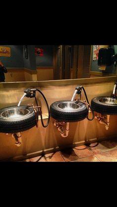 A cute Men's bathroom idea.