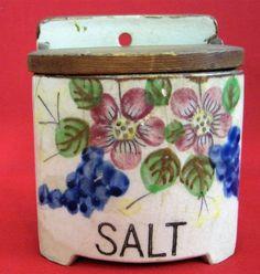 Vtg Salt Box Ceramic  Wood Flip Top Flowers Grapes Farmhouse Rustic Decor Japan