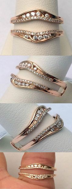 14kt Rose Gold Solitaire Enhancer Round Diamonds Ring Guard Wrap Jacket Insert…